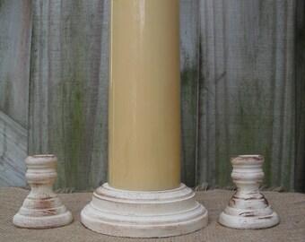 Shabby Chic Wood Wedding Unity Candle Holder Set - You Pick Color - Item 1556