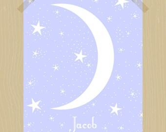 Printable 8 x 10 Custom Name Print Baby Boy Print Nursery Print Moon and Stars Print Night Sky Print Baby Boy Nursery Art Slate Blue Cosmos