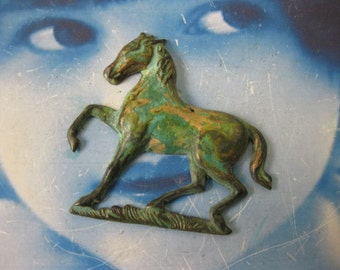 Verdigris Patina Brass Large Horse Stamping Charms Bent or Straight 619VER x1