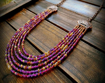 The Vineyard, Western Cowgirl Southwestern Boho Multi Strand Glass Bead & Copper Filigree Necklace