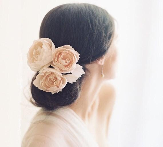 Bridal blush English rose hair pins, silk flowers, wedding hair accessory - Style no. 2007