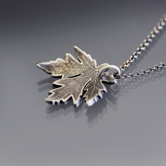 Maple Leaf Necklace - etched sterling silver nature jewelry