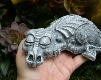 Dragon Statue - Sleeping Baby Dragon - Concrete Garden Art Sculpture
