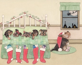 Yorkshire terrier (yorkie) family keeping eye out for Santa on Christmas Eve / Lynch signed folk art print
