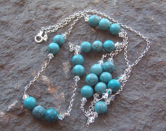 Necklace, Vintage Chain Necklace with Turquoise Howlite Beads