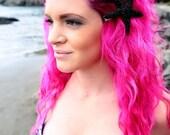 Starfish, ocean, Beach wedding,Black, glitter, bridal, starfish barrette, starfish hair clip, fish, ocean clip,beach, mermaid