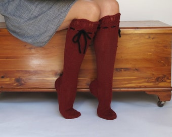 Knee High Socks Red Hot Lace Merino Cashmere Wool Women hand knit with ties