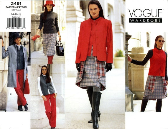 Vogue 2491 Wardrobe Jacket Coat Vest Top Skirt Pants Size 14 16 18 Uncut Sewing Pattern 2000