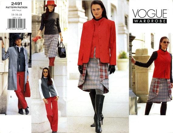 Vogue 2491 Wardrobe Jacket Coat Vest Top Skirt Pants Size 14 16 18 Uncut Sewing Pattern 2000