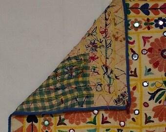 Vintage Kuchi Banjara Rabari Embroidered Tapestry 22 x 22