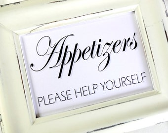 Appetizers Please Help Yourself Wedding Sign -  White or Ivory