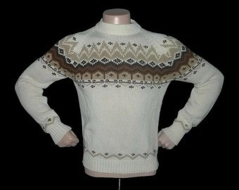 Vintage Nordic Fair Isle WOODLAND Border Print Men's Sweater S