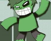 Hulk Art Print Superhero Illustration