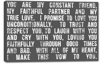 Word Art Canvas lyrics favorite song Wedding vow art  Personalized Canvas Artwork 20X24 inch Geezees
