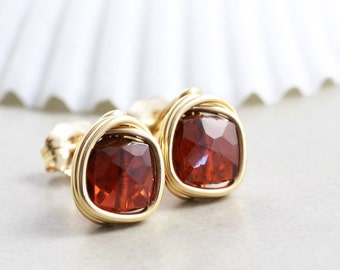 Garnet Studs, Garnet Posts, Garnet Jewelry,  January Birthstone
