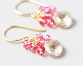 Yellow Pink Dangle Earrings, Pink Topaz Cluster Earrings, Bridesmaid Gift