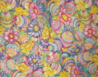 1yd x45 inches -cute multi color -flowers with Easter eggs -- perfect for your Easter sewing -cotton orblend