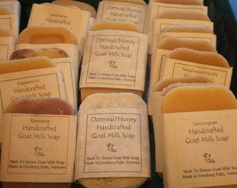 10 Trial Size Goat Milk Soaps/goat's milk soap bed and bath size/pick your favorites