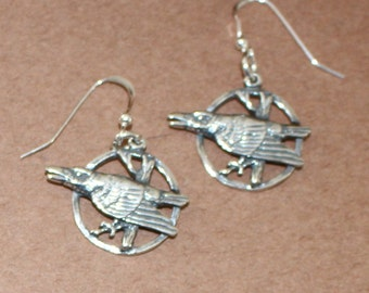 Earrings - Sterling Silver RAVEN- Bird, Wildlife, Totem