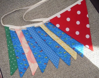 Ready to ship One Fish Two Fish fabric flag banner teacher classroom nursery party outdoor bunting  polka dot