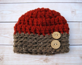 Baby Boy Beanie Hat with Buttons, Newborn Baby Boy Hat, Chunky Baby Boy Hat, Crochet Beanie for Baby Boys, Red, Brown