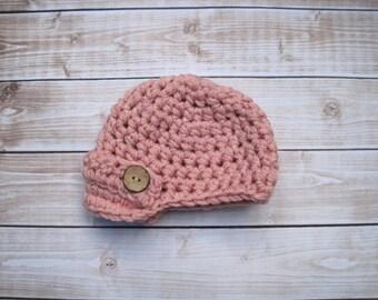 Newborn Girl Newsboy Hat, Pink Baby Girl Hat, Infant Girl Beanie, Baby Girl Visor Hat, Newborn Winter Hat, Crochet Hat for Baby Girls