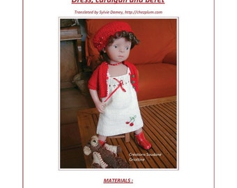 "34.   English and  French INSTANT DOWNLOAD PDF knitting Pattern 13"" dolls Little Darling Effner or Minouche 13"" dolls"