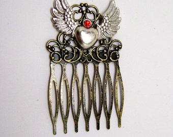 Steampunk hair comb. Steampunk angel wings comb. Steampunk jewelry.