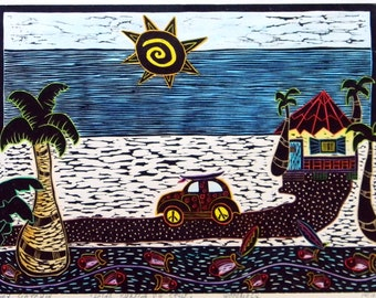 "Woodblock print ""Surfing VW style "". Hand pulled woodblock print. Printmaking."