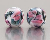 Lampwork Bead Pair - Bloom in pink and white - lampwork by Jennie Yip