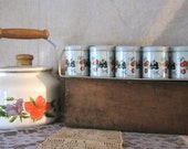 Canisters Set & Rack - Birds and Flowers - 5 Spices Jars Kitchen Storage Serving Office Supply Holder Shabby Chic Beads Holder Buttons - NEW
