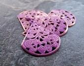 Purple Washed Patina Shabby Chic Gold Metal Filigree Teardrop Stamping-4