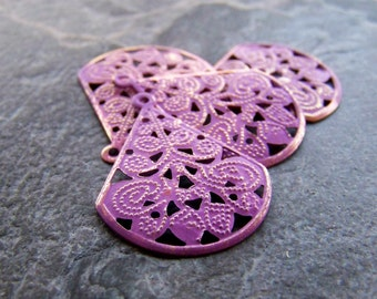 Purple Washed Patina Shabby Chic Gold Metal Filigree Teardrop Stamping-4