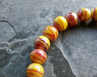 Vintage Bead-Vintage Hand Made Yellow & Red Swirl Bohemian Gypsy Tribal Autumn Glass Oval Beads-1 Full Strand