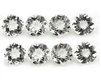 10Pcs AAA Natural Rock Crystal Quartz Cut Round Size 10x10MM