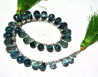 8.5 Inches Lab Green Tourmaline Faceted  drop briolettes Size 3.5x2.5-10.5x5.5mm