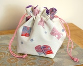 Silk Drawstring Pouch Evening Bag Kimono Silk Medium Flying Books