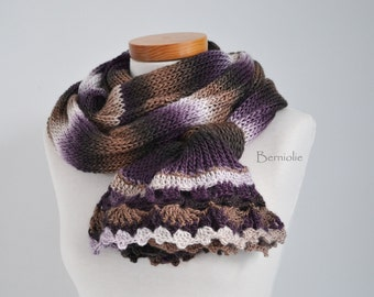 Knitted scarf, browns, creme and purple with lace crochet trim K81