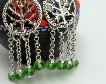 Tree of life Earrings, Dangle Earrings, Green Earrings