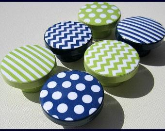 Chevron Knobs • Stripe Drawer Knobs • Polka Dot • Lime Green • Drawer Pulls • Navy Pattern Knobs