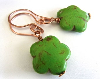 Lime Green Magnesite Copper Earrings, Simple, Stylish, Copper Earwires, Fun, Flirty, Boho