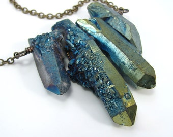 Peacock colored quartz rock crystal shard necklace