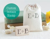 Your Intitials on a Hand Carved Rubber Stamp - Perfect for Wedding Favors Save the Dates Thank You Cards - CHOOSE Your Size and Font!