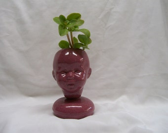 Ceramic Doll Head  Planter Pink Speckled Glaze