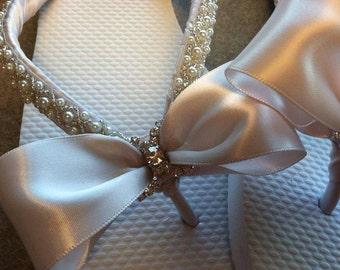 Bethany Bridal Flip Flops, Custom Flip Flops, Blush Dancing Shoes, Bow Bridal Sandals, Blush Wedding Flip Flops, Beach Wedding Bridal Shoes
