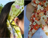 Ascot Scarf Retro Floral Green or Red Asian Floral Reversible Choose Your Print
