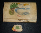 Vintage 30s Hawaii Tourist Clutch + Coin Purse Stamped Hand Painted Japan Surfer Elephant RARE