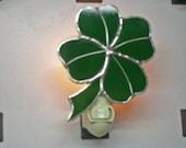 Shamrock Night light - Four Leaf Clover Night light - Stained Glass Night light - Shamrock Nightlight