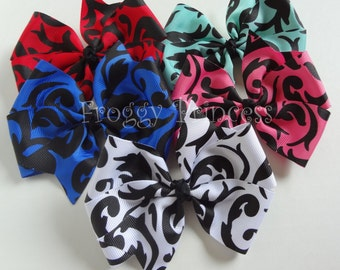 Damask Hair Bow - Your Choice White Red Blue Pink Pinwheel Style - No Slip Velvet Grip