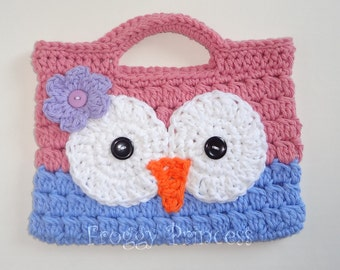 Owl Purse Pink and Blue READY TO SHIP Hand Crocheted Toddler Bag Tote